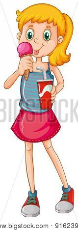 Closeup girl eating icecream and drinking soda