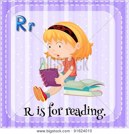 Flashcard letter R is for reading