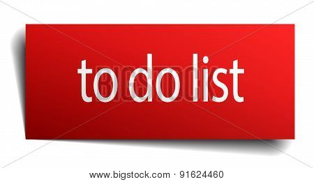 To Do List Red Paper Sign On White Background