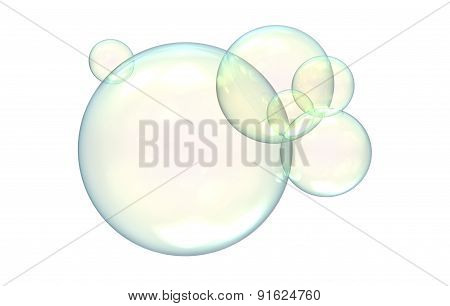 Soap Bubles Isolated On A White Background.
