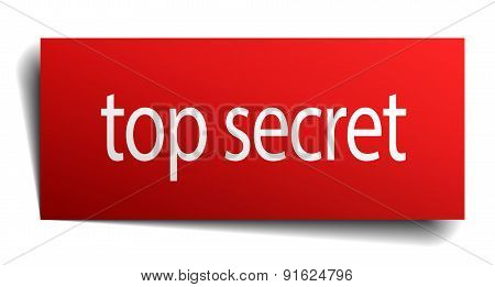 Top Secret Red Paper Sign On White Background