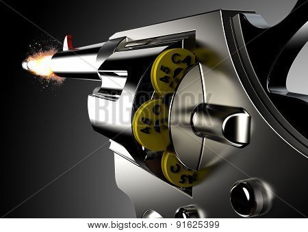 Gunshot From Pistol Isolated On A White Background