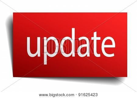 Update Red Paper Sign On White Background