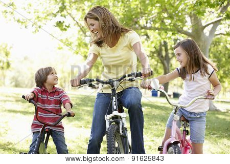 Mother and children on bikes