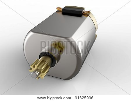 Dc Electric Motor With Gear Isolated On White