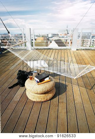 Hammock On Roof With Dog And Book