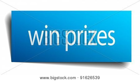 Win Prizes Blue Paper Sign Isolated On White