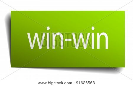 Win-win Square Paper Sign Isolated On White