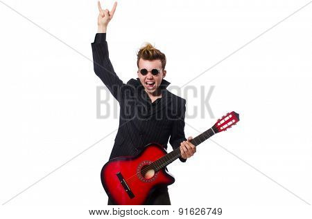 Man guitar player isolated on white