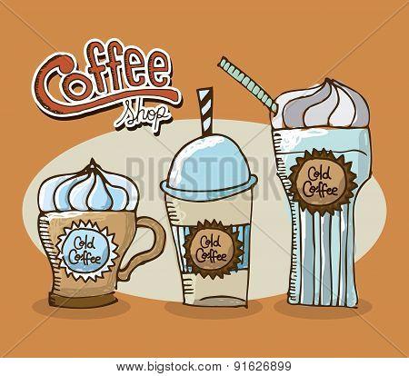 Coffee design over orange background vector illustration