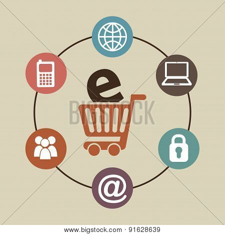 E-commerce design over beige background vector illustration