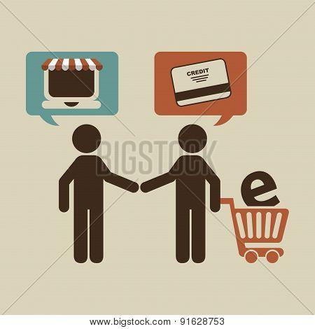 E-commerce design over beige background vector illustration
