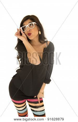 Woman With Fun Expression Wearing Funky Glasses And Colorful Stiped Leggings