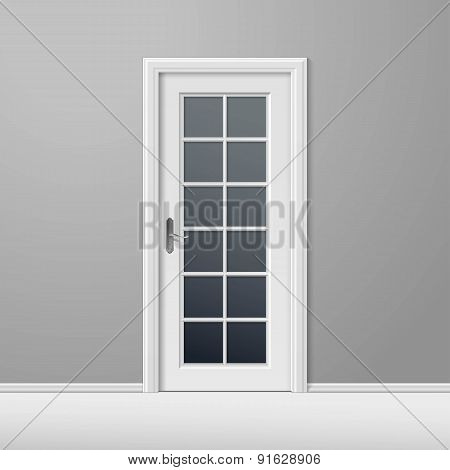 Vector White Closed Door with Frame