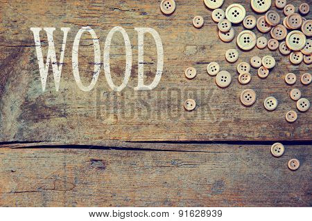 Wooden Background With The Word Wood