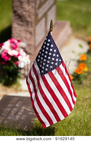 Usa Flag In Cemetery.