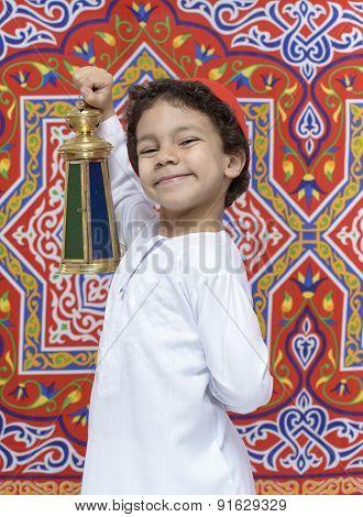 Happy Young Boy With Lantern Celebrating Ramadan