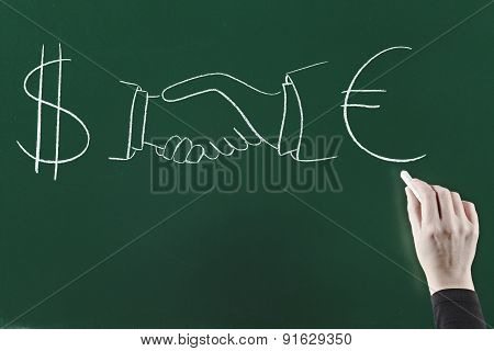 Dollar and euro agreement concept on blackboard