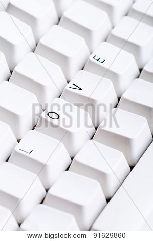 Word Love On Computer Keyboard With Empty Space On Other Buttons.