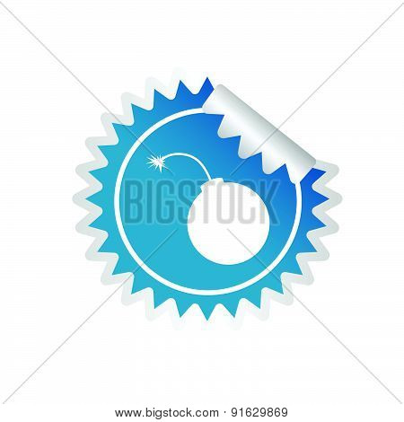 Sticker Of Bomb Blue Vector