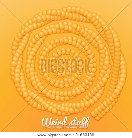 Chain of spheres with soft shadows in form of helix. Abstract geometric background. Protein chain or