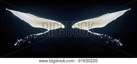 Wings On Black Background Made Of Splashes Of Milk