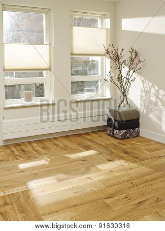 Empty White Room With Wood Floor And Sunlite
