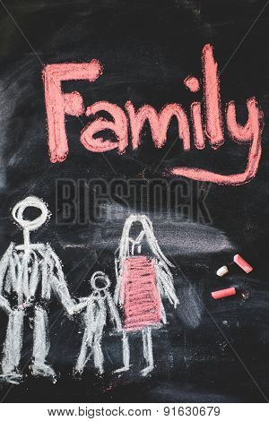 family handwritten with white chalk on a blackboard.