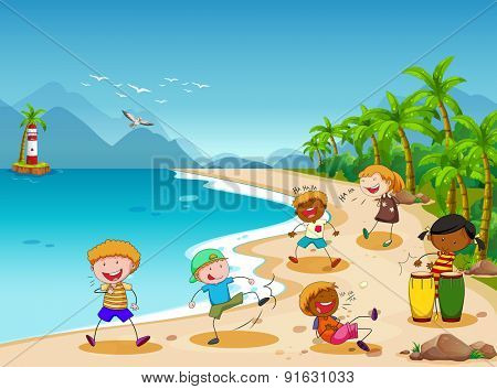 Children playing and laughing on the beach