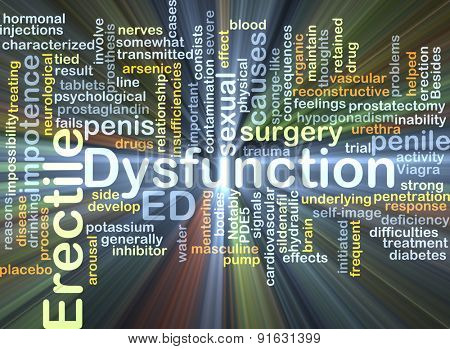 Background concept wordcloud illustration of erectile dysfunction ED glowing light