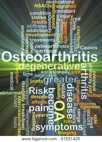 Background concept wordcloud illustration of osteoarthritis OA glowing light