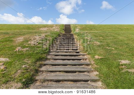 Wooden Stairs Upon Green Hill With Blue Sky