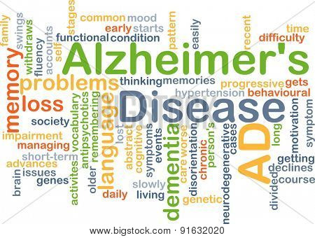 Background concept wordcloud illustration of Alzheimerâ??s disease
