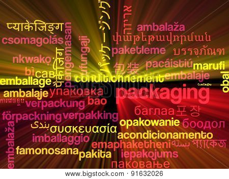 Background concept wordcloud multilanguage international many language illustration of packaging glowing light
