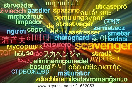 Background concept wordcloud multilanguage international many language illustration of scavenger glowing light