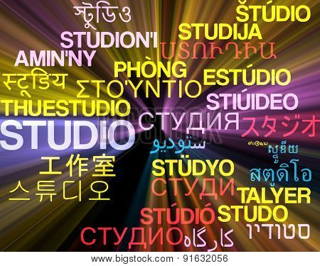 Background concept wordcloud multilanguage international many language illustration of studio glowing light