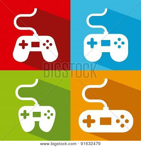 Video game design over colorful background vector illustration
