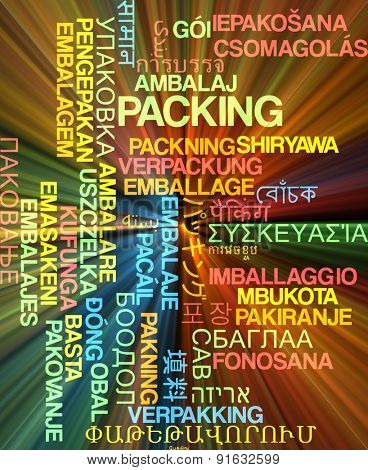 Background concept wordcloud multilanguage international many language illustration of packing glowing light
