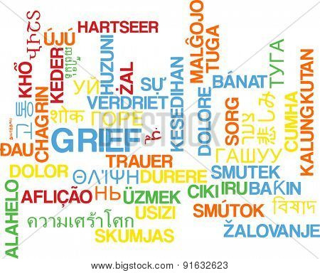 Background concept wordcloud multilanguage international many language illustration of grief