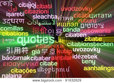 Background concept wordcloud multilanguage international many language illustration of quotes glowing light