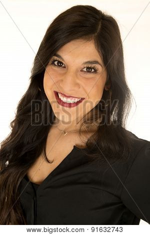 Attractive Tanned Woman Wearing A Black Blouse Portrait Smiling