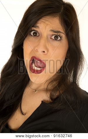 Attractive Woman With Crazy Expression Her Large Mouth Open