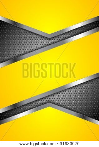 Abstract yellow perforated background with metallic design. Vector illustration