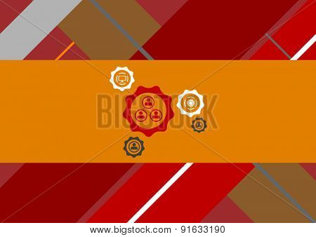 Flat geometric tech background with gears. Vector bright design