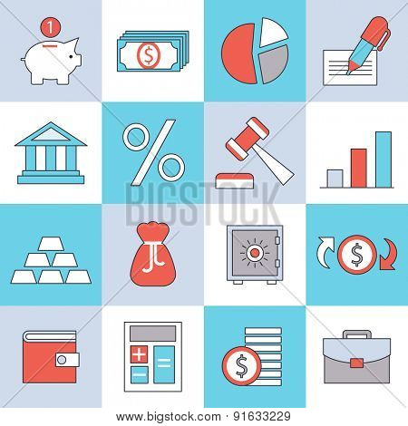 Finance icons, flat design, thin lines and light color style