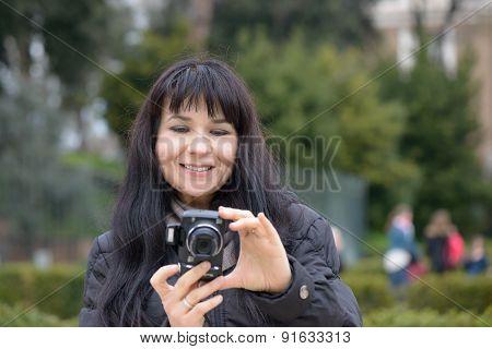 Tourist Girl In Piazza Bocca Della Verità