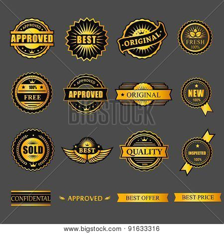 Badges tag label sticker gold set. For business guarantee, promotion, offer, web element.