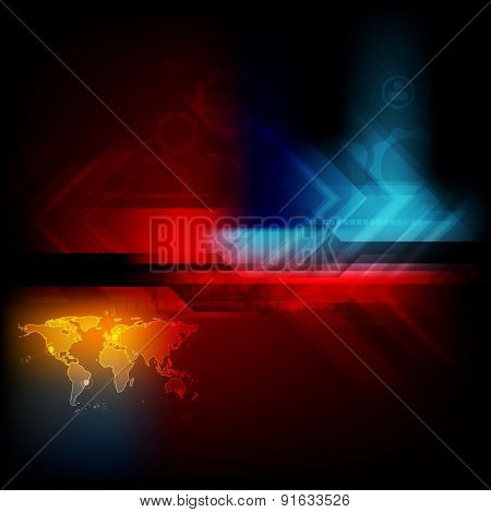 Dark technology abstraction. Vector colorful background