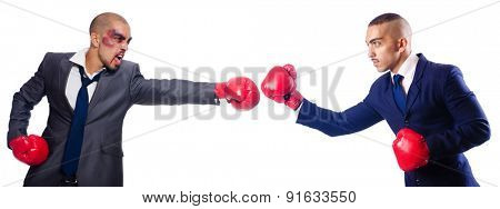 Two businessmen boxing isolated on the white