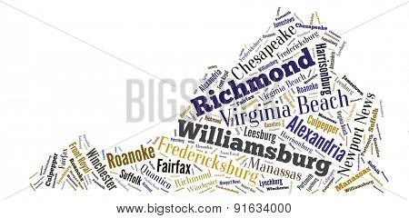 Word Cloud in the shape of Virginia showing some of the cities in the state